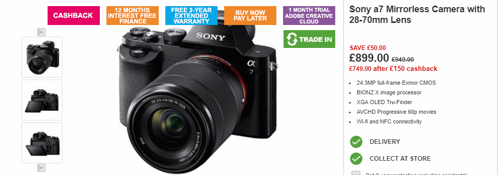 Sony a7 at Jessops
